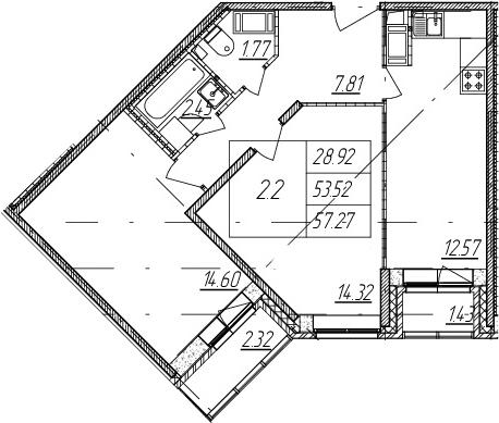 2-к.кв, 53.52 м²