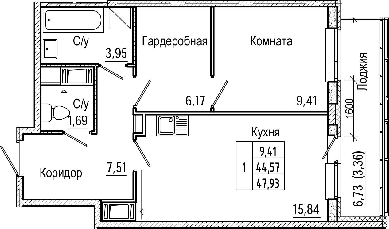 2Е-комнатная, 47.93 м²– 2