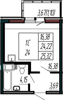 Студия, 24.22 м², 9 этаж