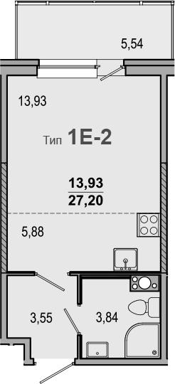 Студия, 27.2 м², 5 этаж – Планировка
