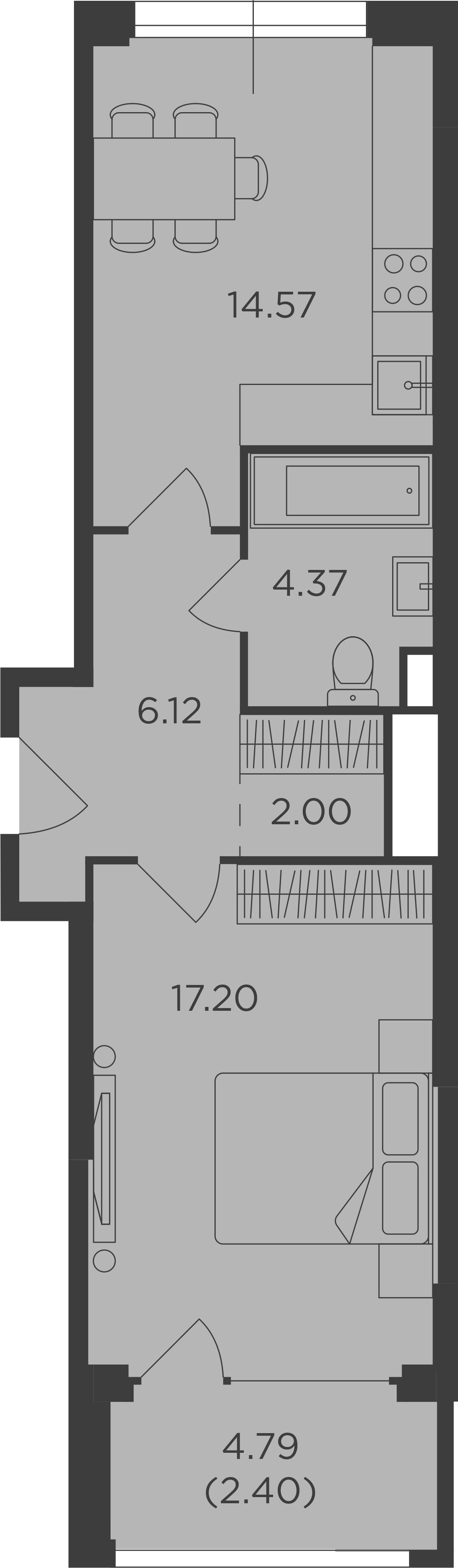 1-к.кв, 46.66 м², от 8 этажа