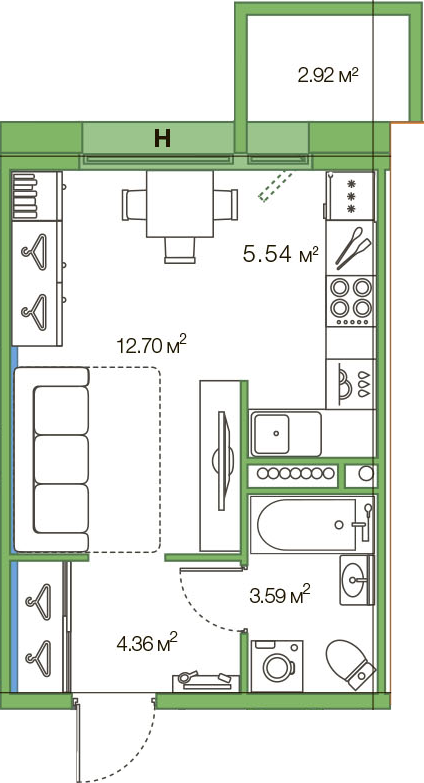 Студия, 29.11 м²