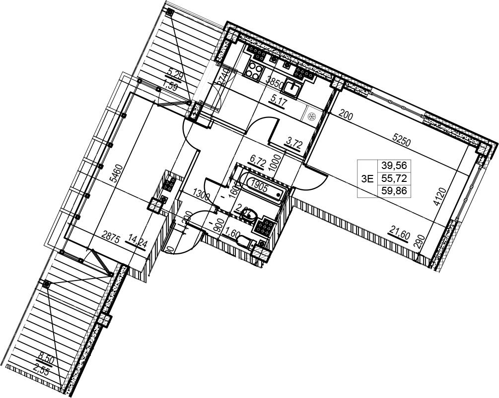 3Е-к.кв, 59.86 м², 8 этаж