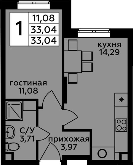 1-комнатная, 33.04 м²– 2