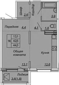 1-к.кв, 44.3 м², от 9 этажа