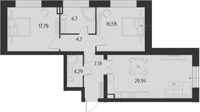 3-к.кв (евро), 87.17 м²
