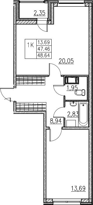 2Е-комнатная, 48.64 м²– 2
