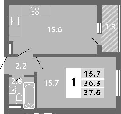 2Е-к.кв, 37.61 м², 11 этаж
