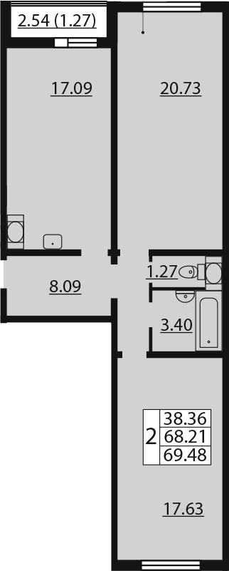 2-к.кв, 70.75 м²