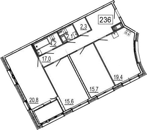 4Е-к.кв, 99.3 м², 4 этаж