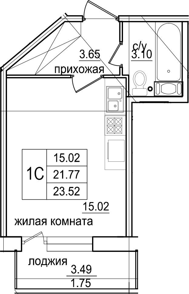 Студия, 23.52 м², 8 этаж