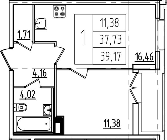 2-к.кв (евро), 40.61 м²