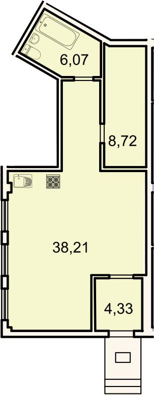 Студия, 57.3 м²– 2