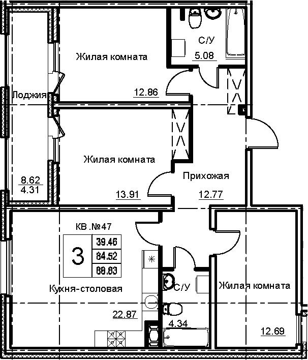 4-к.кв (евро), 93.14 м²
