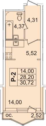 Студия, 29.4 м²– 2