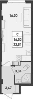 Студия, 22.51 м²