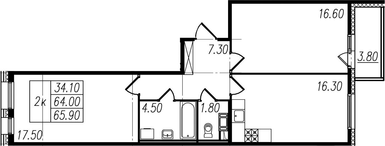 2-комнатная квартира, 64 м², 8 этаж – Планировка