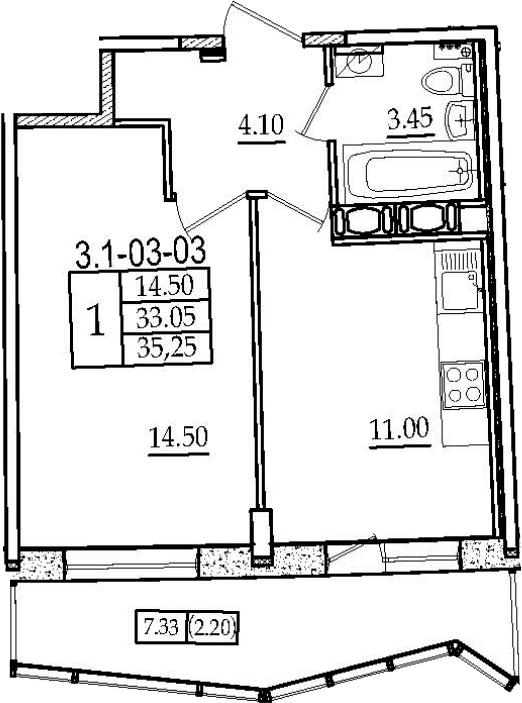 1-к.кв, 35.25 м², от 3 этажа