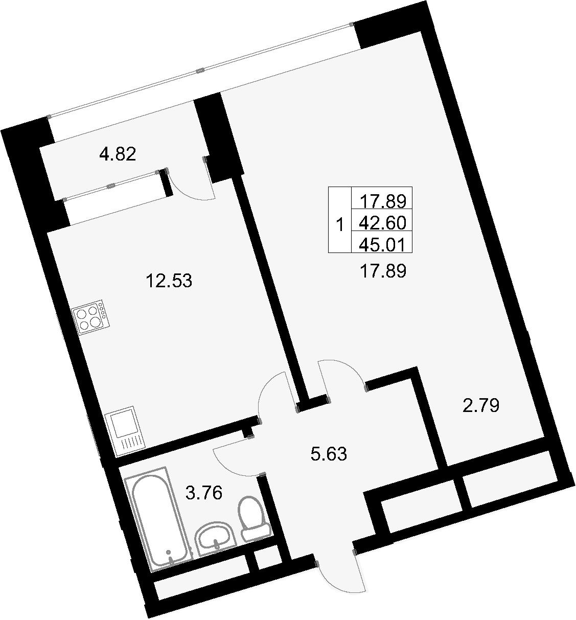 1-комнатная, 45.01 м²– 2