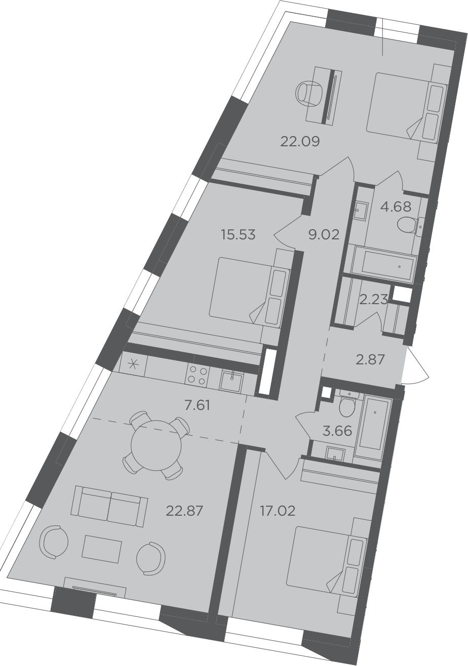 4Е-к.кв, 107.58 м², 8 этаж