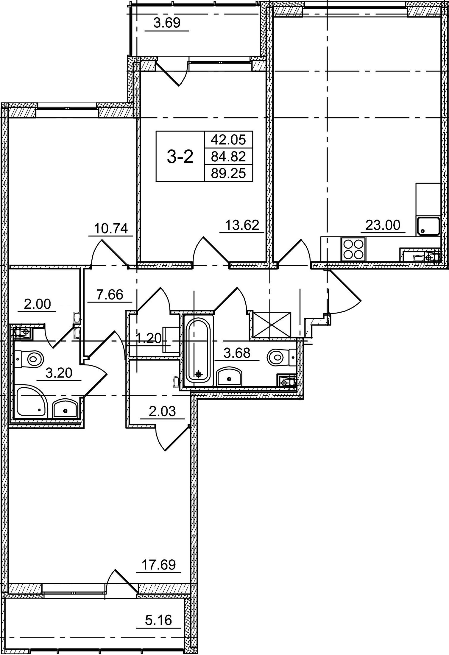4Е-комнатная, 84.82 м²– 2