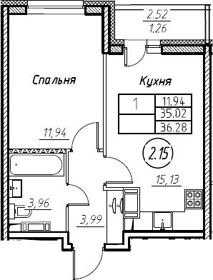 2Е-к.кв, 36.28 м², 13 этаж