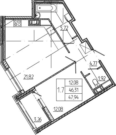 2Е-комнатная, 46.31 м²– 2