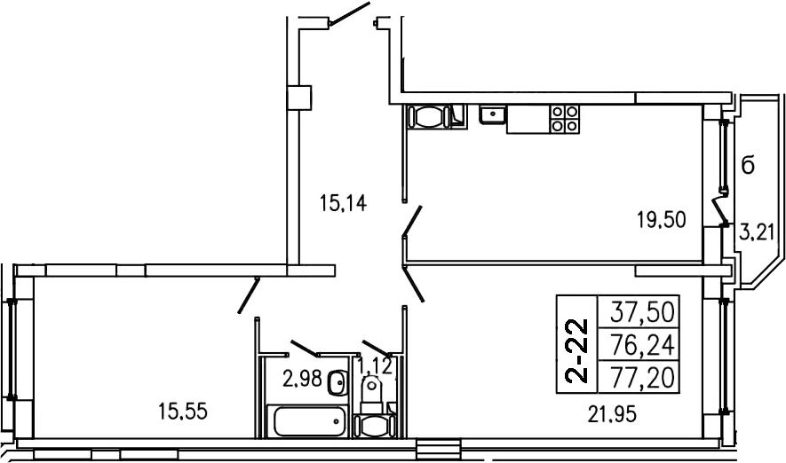 3-к.кв (евро), 79.45 м²
