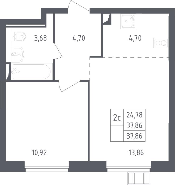 2Е-комнатная, 37.86 м²– 2