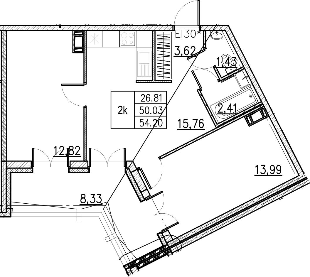 3Е-комнатная, 54.2 м²– 2