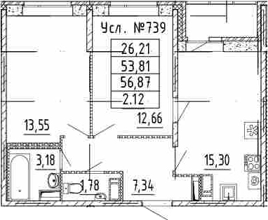 3Е-к.кв, 53.81 м²
