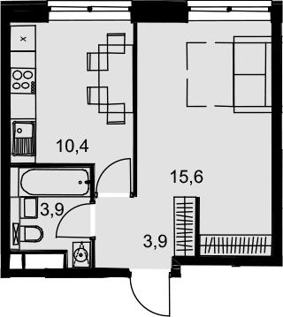 1-к.кв, 33.8 м², от 15 этажа