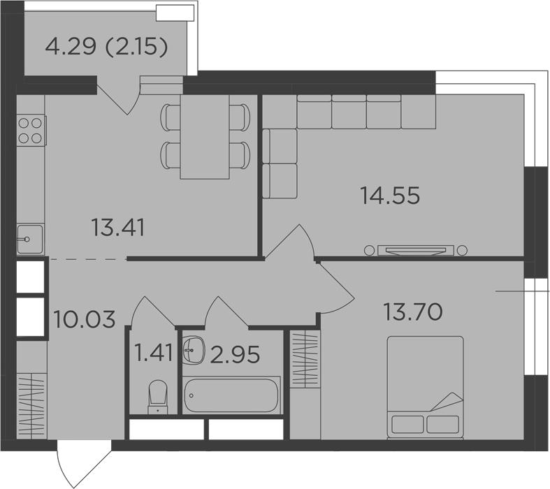 2-к.кв, 58.2 м², 19 этаж
