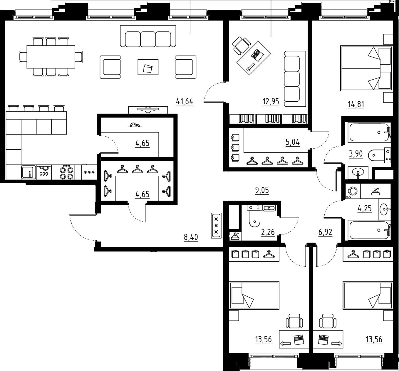 5Е-комнатная, 145.65 м²– 2