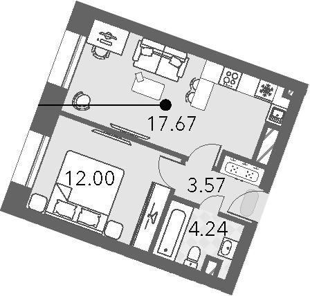 2Е-к.кв, 37.4 м², 2 этаж