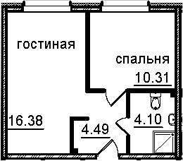 2Е-к.кв, 35.28 м², 4 этаж