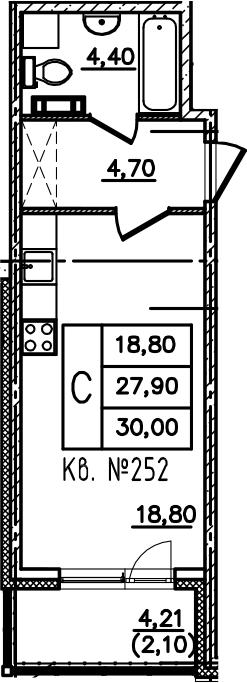 Студия, 32.11 м²