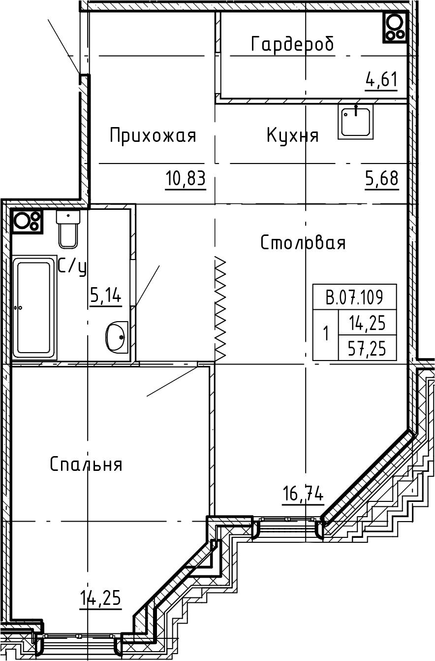 2Е-комнатная, 57.25 м²– 2