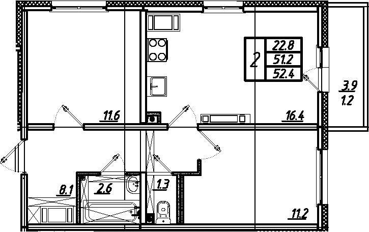 3Е-к.кв, 52.4 м²