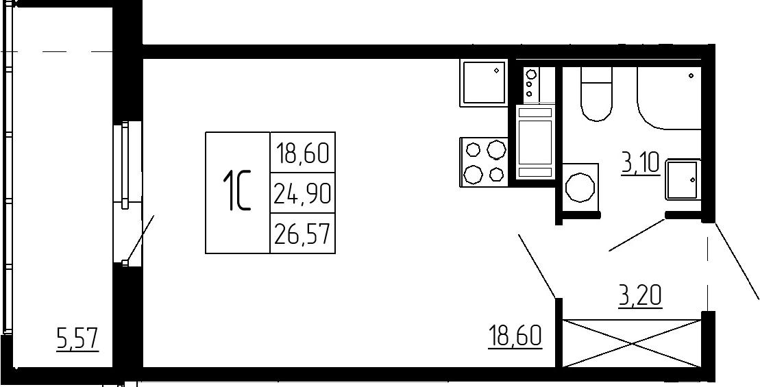 Студия, 24.9 м², 2 этаж – Планировка