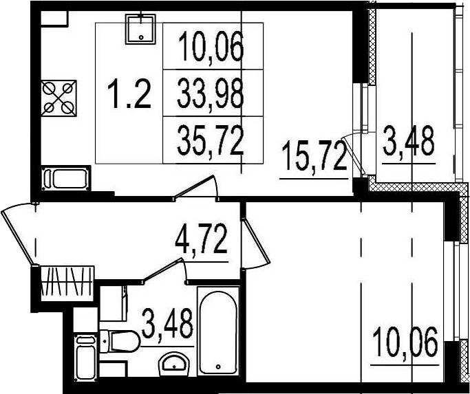 2Е-к.кв, 33.98 м²