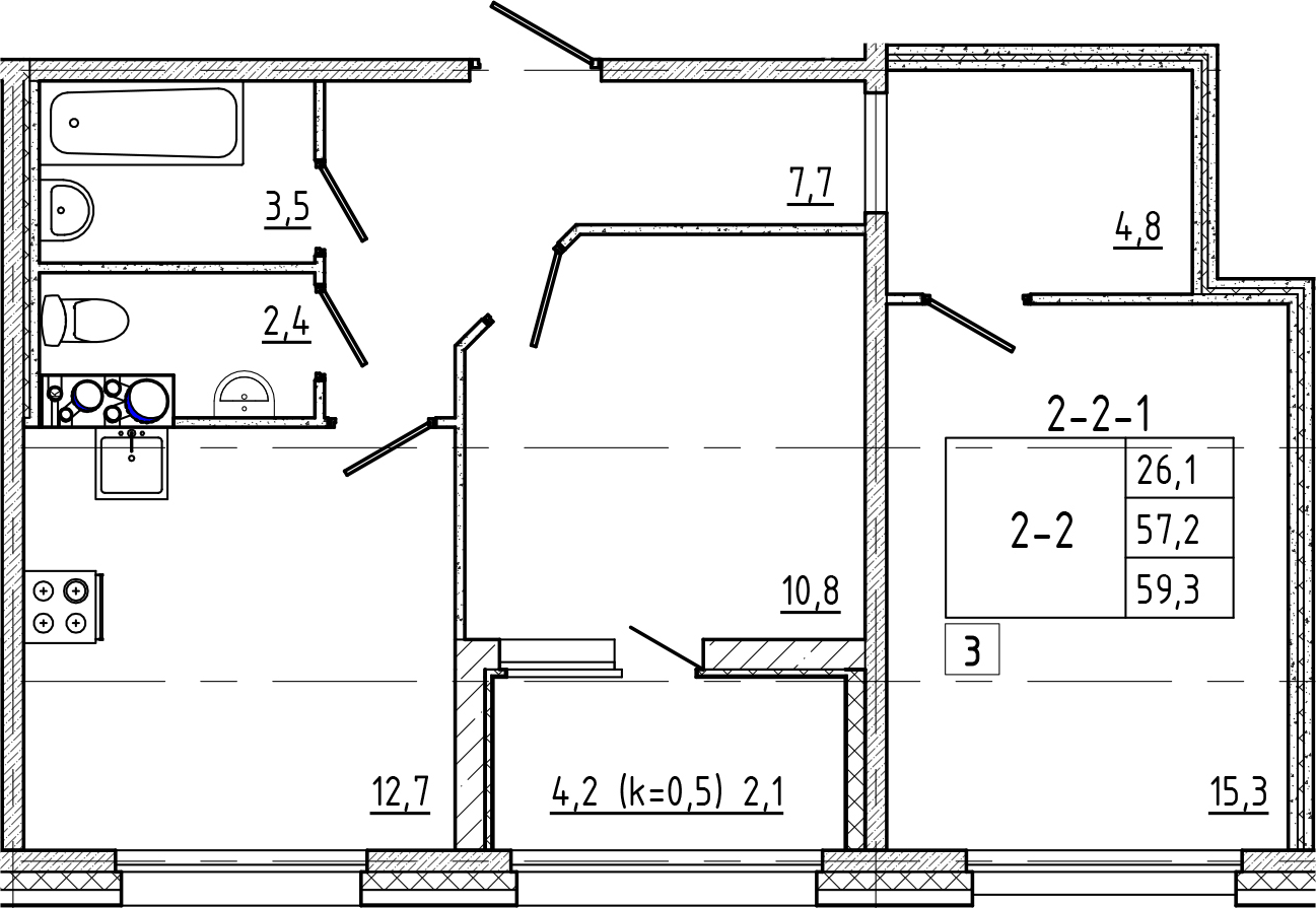 2-к.кв, 59.3 м²