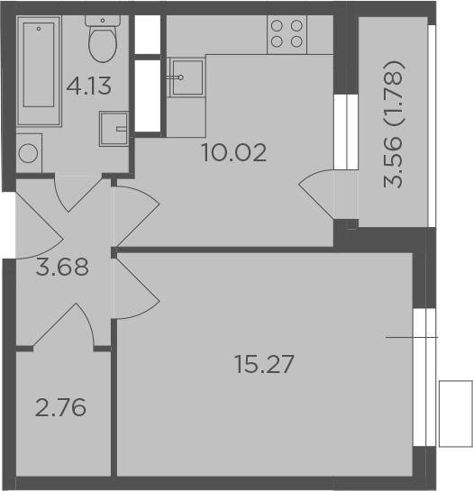 1-комнатная, 37.64 м²– 2