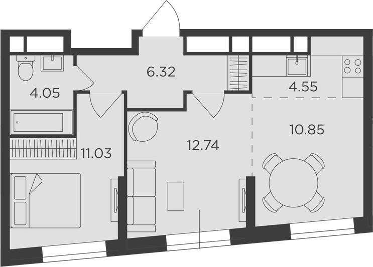 3-к.кв (евро), 49.54 м²