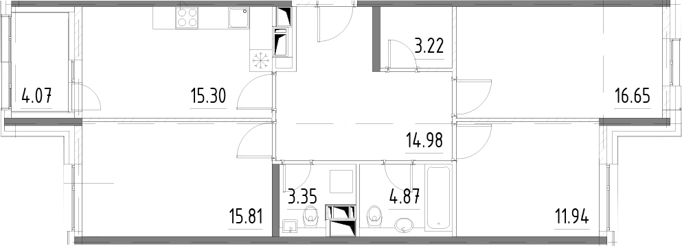 3-к.кв, 90.18 м²