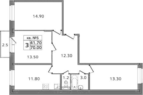 3-к.кв, 72.5 м²