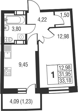 1-к.кв, 36.05 м²
