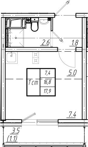 Студия, 17.9 м², 7 этаж