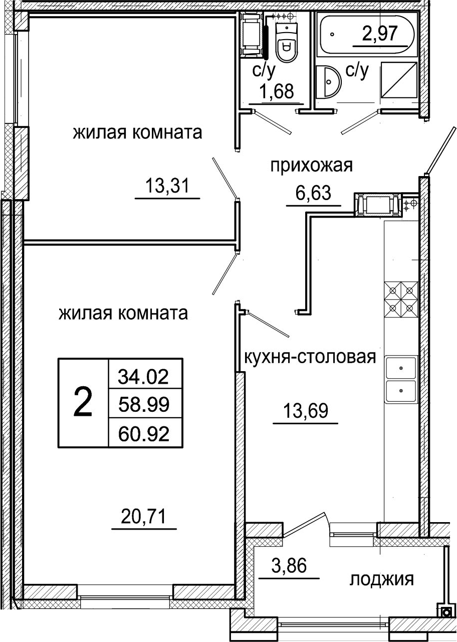 3Е-к.кв, 60.92 м²