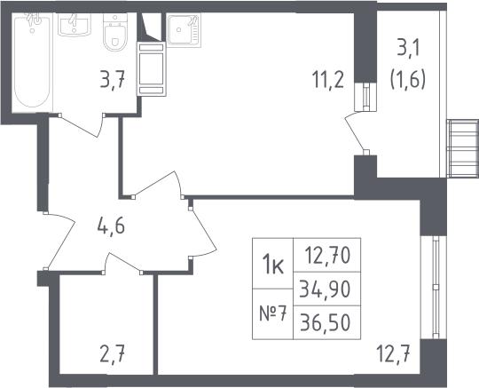 1-к.кв, 36.5 м²